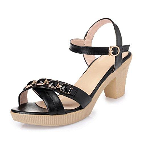 de Sweet Mode Fashion Printemps JAZS® Talons New la Sandales Style Femme Hauts Été Sandales Sexy et Mode Noir Élégant à épais zw6HwFZCq