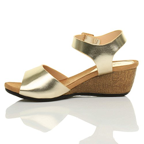 Damen Mittlere Keilabsatz Peep Toe Schuhe Knöchel-/Fesselriemen Schnalle Bequem Fußbett Plateausandale Größe Gold