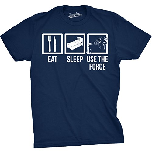 Crazy Dog T-Shirts Mens Eat Sleep Use The Force boxes Funny Vintage Sci Fi Movie T Shirt (Navy) - 90s Movies Popular Most