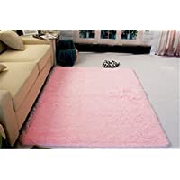 SZXXC Super Soft Thick Indoor Morden Area Rugs Pads Living Room Carpet Bedroom Rug for Children Play Solid Home Decorator Floor Rug and Carpets 4 Feet X 5 Feet(Pink)