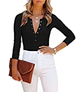 OWIN Women's Sexy V Neck Long Sleeve Tops Ribbed Button Down Leotards Bodysuit Jumpsuit