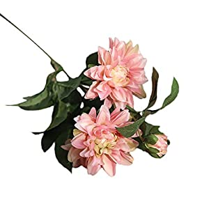 Morrivoe Artificial Dahlia Floral, Multicolor Real Looking Artificial Fabric Fake Flowers Leaf Home Decor Bridal Bouquet for Wedding Garden Party Home Room Decor 17