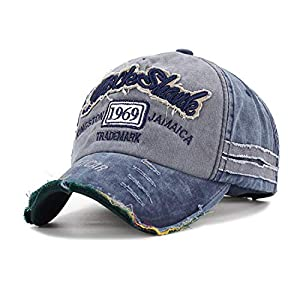 Aavjo Unisex Cotton Vintage 1969 Embroidered Ripped Sun Visor Denim Distressed Adjustable hat Cap Casquette for All…