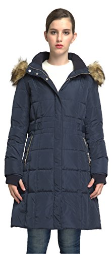 Orolay Women's Puffer Down Coat Winter Jacket With Faux Fur Trim Hood YRF8020Q Navy L (Maternity Coat Petite)