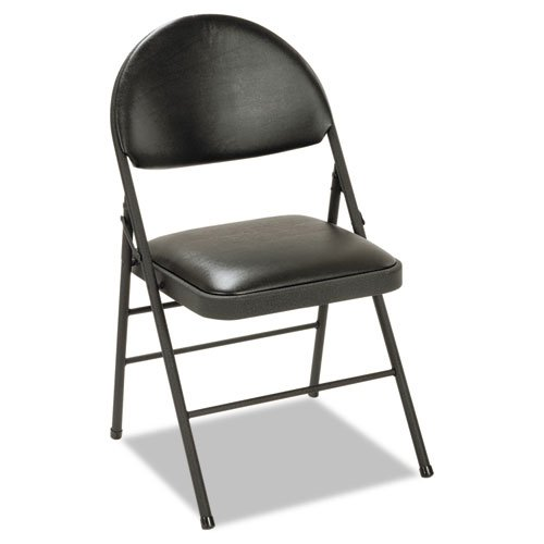 Cosco 60973BLK4 XL Folding Chairs, Vinyl Seat & Back, 4/Carton, Black by Cosco