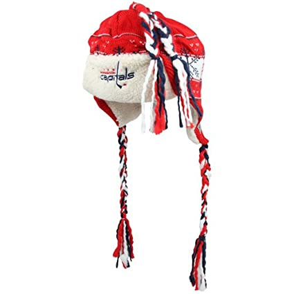 4ffe02d4c39 Image Unavailable. Image not available for. Color  NHL Reebok Washington  Capitals Youth Faceoff Snowflake Tassel Knit Hat ...