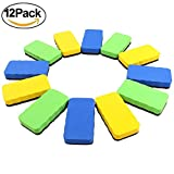 Beatife Whiteboard Cleaner, Magnetic Dry Erasers with 12 Pack and 3 Colors(4 Green, 4 Yellow, 4 Blue), Perfect for Home, Office and School Classroom Teacher