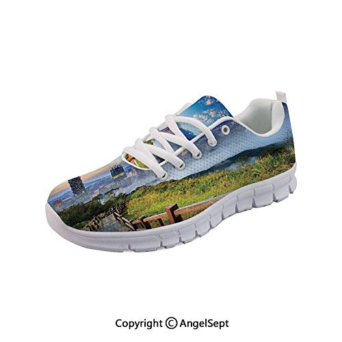Athletic Running Shoes Scenery of a City and Lightweight Sneakers -