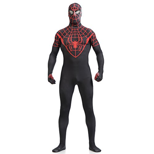 [CosplayDiy Costume Lycra Spandex Spiderman Full Bodysuit Black L] (Spiderman Bodysuit)