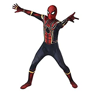 LishufenCOS Cosplay Spider Homecoming Suit Halloween Lycra Spandex Zentai Costume Bodysuit (Kids-M)