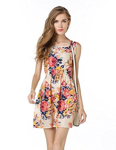Bestgift Damen Kleider 14 Stil Partei Ballkleid Rosa Blumen ...