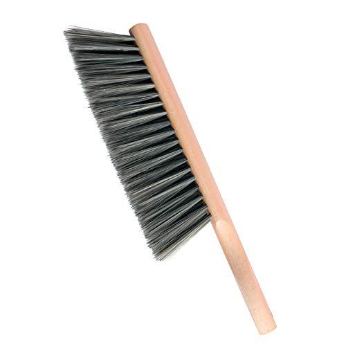Huibot Hand Broom Soft Bristles Oiled Beech Wood Handle Small Natural Brush 14 Inch Long (Gray)