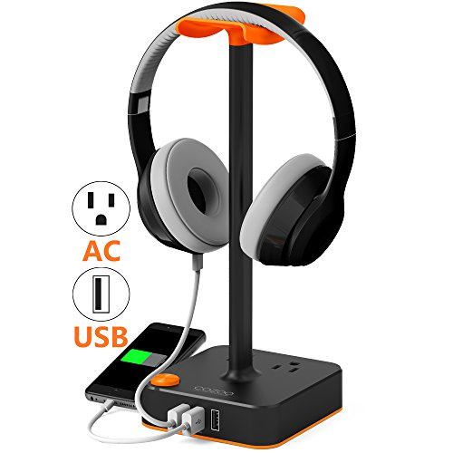 Headphone Stand with USB charger COZOO Desktop Gaming Headset Holder Hanger with 3 USB Charging Station and 2 Outlets Power Strip - Suitable For Gamer, DJ, Wireless Earphone - Headset Desktop