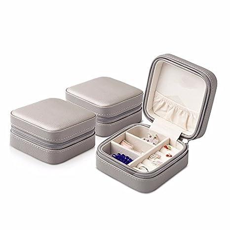 lzzfw Joyero Caja de regalo de Navidad Almacenamiento de viaje Pendientes portátiles Anillo de caja de almacenamiento 3 Combinación, Gris: Amazon.es: ...