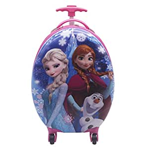 FROZEN GIRL KIDS OVAL SHAPE TROLLEY FOR SCHOOL AND TRAVEL PINK BLUE COLOUR