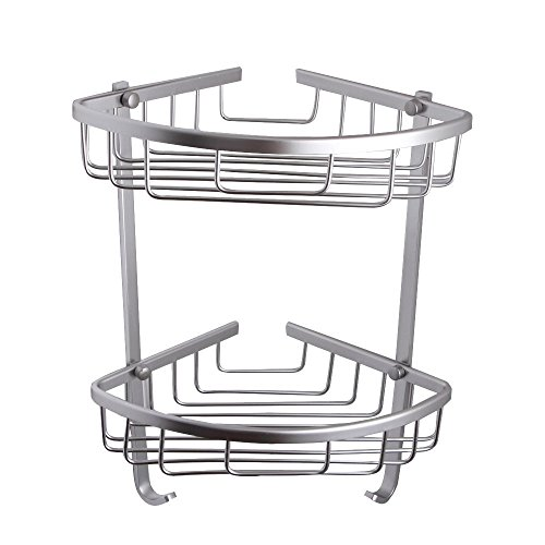 BOEN A11052 Bathroom Rustproof Aluminum 2-Tier Corner Shelf Basket Wall Mounted, Silver Sand Sprayed (Basket Combo Corner)