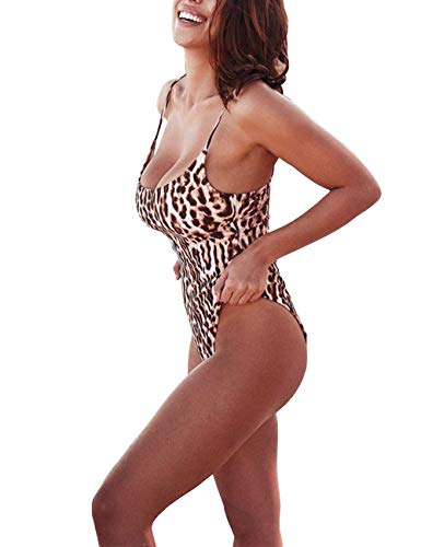 IBIZA VIBE One Piece Swimsuit Sexy Leopard Print Retro 80s/90s High Cut U Neck Bathing Suit for Women (Leopard Print #1, S(US0-2))