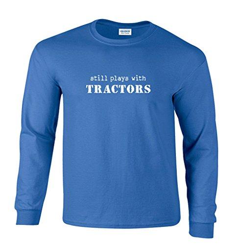 (Fair Game Still Plays With Tractors Farming Farmer Funny Long Sleeve T-Shirt-Royal Blue-Medium)