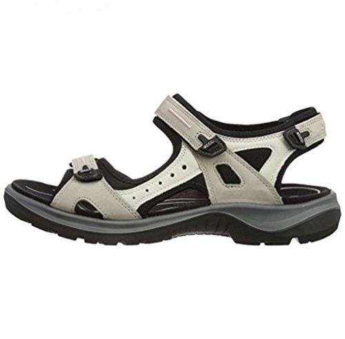 (ECCO Women's Yucatan outdoor offroad hiking sandal, Atmosphere/Ice White/Black, 10 M US)