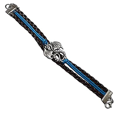 "Cheap GoT-Inspired ""Mother of Dragons"" Genuine Leather Bracelet, with Antiqued Metal Dragon and Colored Cord supplier"