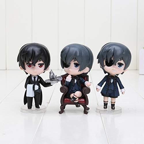 9cm (3.5 inch) - 3pcs/Set - Anime Black Butler Kuroshitsuji Ciel Q Edition PVC Action Figure Collectible