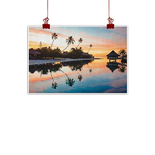 Decorative Art Print Tropical,Tropical Sunset Moorea French Polynesia Reflection Resort Scenic Waterscape, Yellow Coral Blue 36