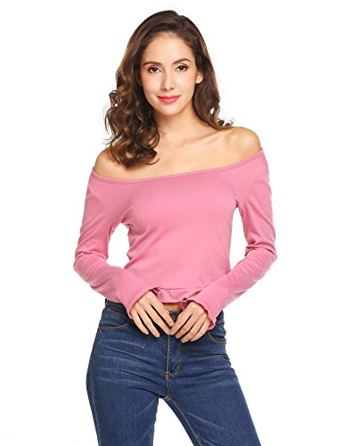 Women Sexy Long Sleeve Off shoulder Solid Casual Blouse (Pink) - 3