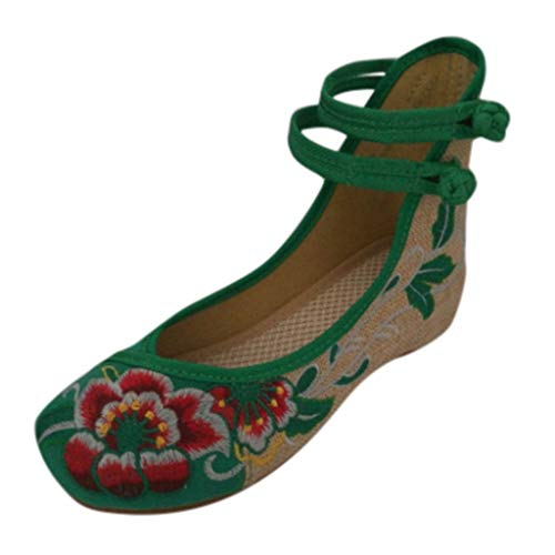 (Toimothcn Embroidered Canvas Shoes Women Vintage Ankle Double Strap Ethnic Shoes (Green,US:7))