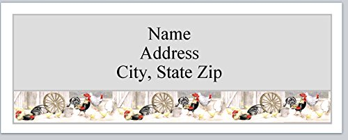 Chicken Address Labels (120 Personalized Address labels Primitive Country Chickens Roosters (P 362))