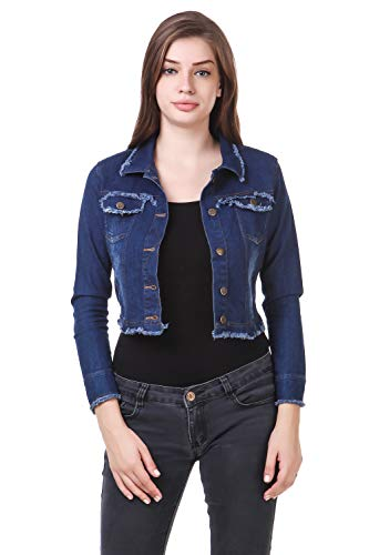 CLO CLU Full Sleeves Stylish Comfort Fit Regular Collar Light Blue Denim Jacket for Women.