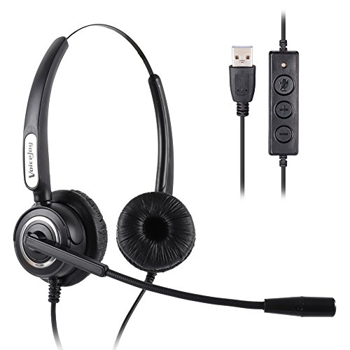 VoiceJoy Call Center Noise Cancelling Corded Binaural Headset Headphone with Mic Microphone with USB Plug For Computer and Laptop, Volume Control and Mute Switch -