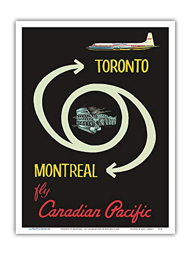 Pacific Canadian Airlines - Pacifica Island Art - Toronto to Montreal - Fly Canadian Pacific Airlines - Vintage Airline Travel Poster c.1960 - Master Art Print - 9in x 12in