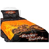 Harley Davidson Flames Twin Sheet Set