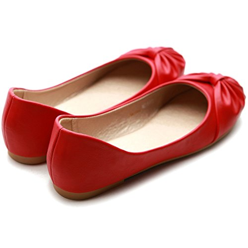 Cute Flat Shoe Comfy Ollio Down Women's Ribbon Red Ballet w0XqEEf6z