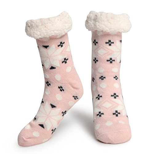 Slipper Socks Fleece-Lined Cozy Thick Winter Knee Highs Stockings for Woman?Girl by MissDill, Pink,5-10
