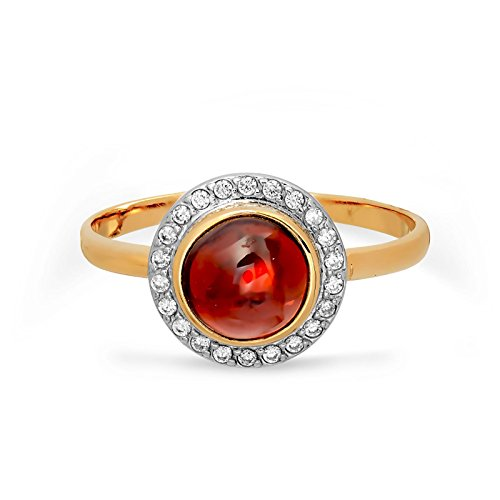 585/14ct russe Or rose Granat, CZ Bague