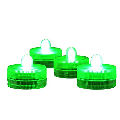 - Submersible LED Lights cr2032 Battery Powered Underwater Waterproof LED Tea Light Candles for Events Wedding Centerpieces Vase Floral Xmas Holidays Home Decor Lighting(Pack of 12) (Green)
