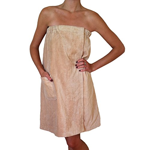 - Radiant Saunas SA5328 Women's Spa & Bath Terry Cloth Towel Wrap, Tan
