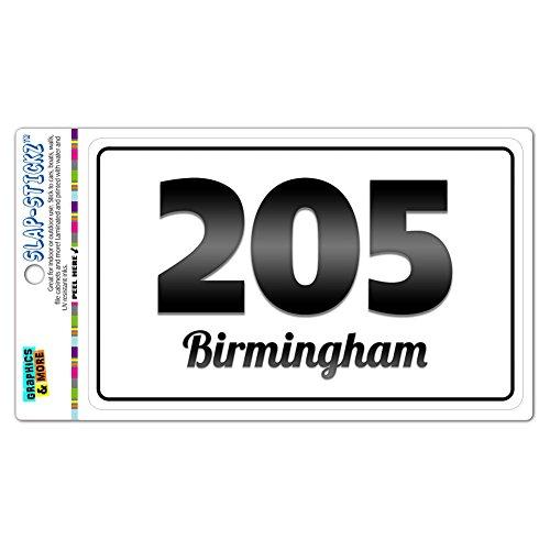 Area Code B&W Window Laminated Sticker 205 Alabama AL Abernant - Empire - Birmingham