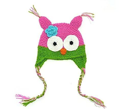 f973f32af62 Bonnet Chouette Hibou Chapeaux Tresse Crochet Tricot Pour Enfant Bébé 6~24  Mois (Rouge