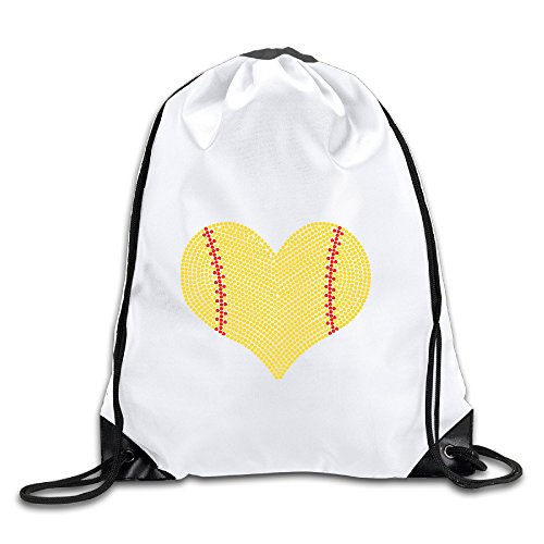 Discovery Wild I LOVE SOFTBALL HEART Polyester Drawstring Backpack Tote Sport Bag Home Travel Sport Storage Use ()