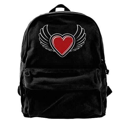 Winged Valentine's Heart 23 2c Canvas Backpacks Travel Rucksack Backpack Laptop Shoulder Bag (Handbag Heart Winged)