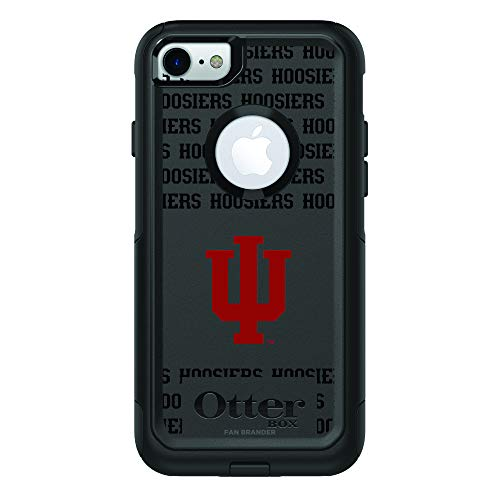 Fan Brander NCAA Black Phone case with School Logo and Repeating Wordmark Design, Compatible with Apple iPhone 8 and Applii iPhone 7 with OtterBox Symmetry Series (Indiana Hoosiers)
