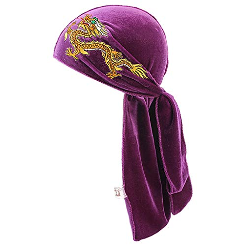 (Cher9 Unisex Winter Velvet Turban Hat Traditional Chinese Dragon Embroidered Biker Hair Cover Glitter Solid Color Long Tail Wide Straps Pirate Headwrap 6 Colors(Purple£)