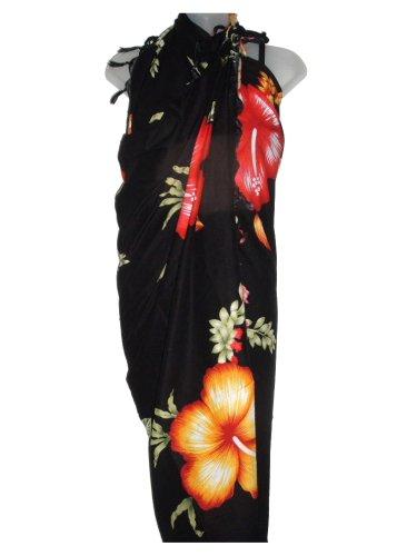 Hawaiian Long Black Sarong w/ Orange & Red Hibiscus