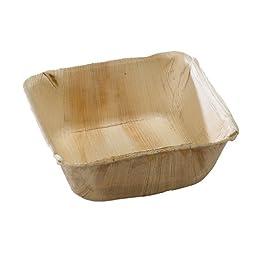 PacknWood Palm Leaf Square Bowl, 16 oz. Capacity (Case of 100)