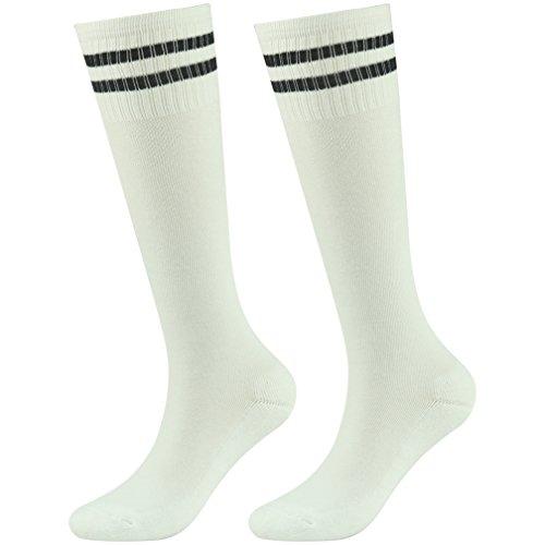 Fasoar Girls Socks Boys Cotton Active Breathable Warm Soft Knee High Boot Socks 2 Pairs White Black-Stripe