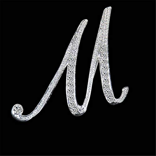 (2019 Fashion Rhinestone Crystal Brooches Initial Letter Brooch A-S Lapel Pins and Brooch Name Jewelry for Mother's Day Gift M)