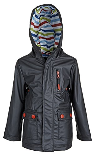 Urban Republic Little Boys Waterproof Hooded Fully Lined Spring Raincoat Jacket - Black (Size 5/6)