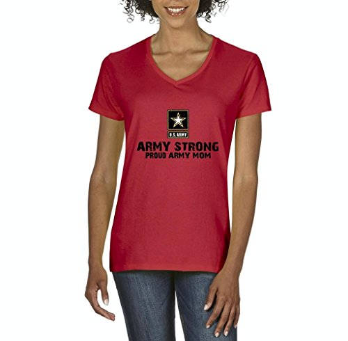 Xekia U.S. Army Star Army Strong Proud Army Mom Fashion People Couples Best Friend Gifts Women's V-Neck T-Shirt Tee Clothes XXX-Large Red (Sweatshirt People Adult)